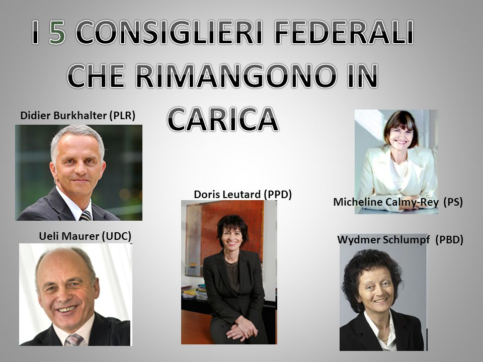 Ueli Maurer (UDC) Didier Burkhalter (PLR) Doris Leutard (PPD) Wydmer Schlumpf (PBD) Micheline Calmy-Rey (PS)
