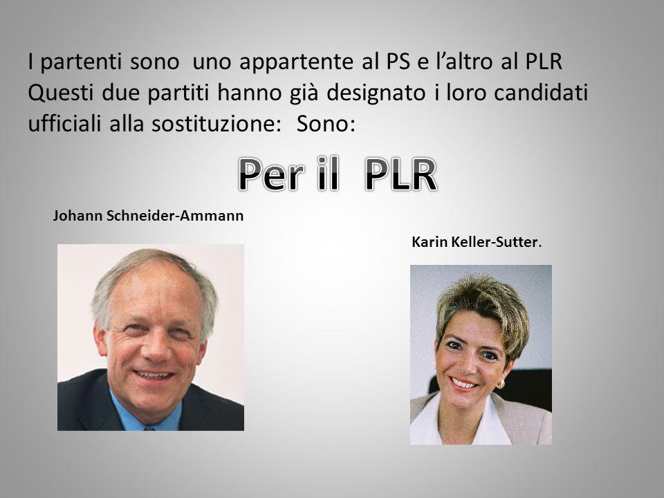 I partenti sono uno appartente al PS e l'altro al PLR Questi due partiti hanno già designato i loro candidati ufficiali alla sostituzione: Sono: Johann Schneider-Ammann Karin Keller-Sutter.