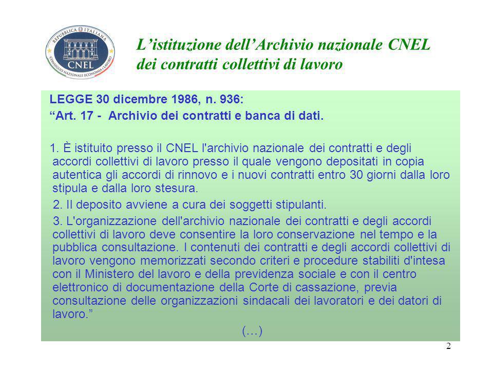 2 L'istituzione dell'Archivio nazionale CNEL dei contratti collettivi di lavoro LEGGE 30 dicembre 1986, n.