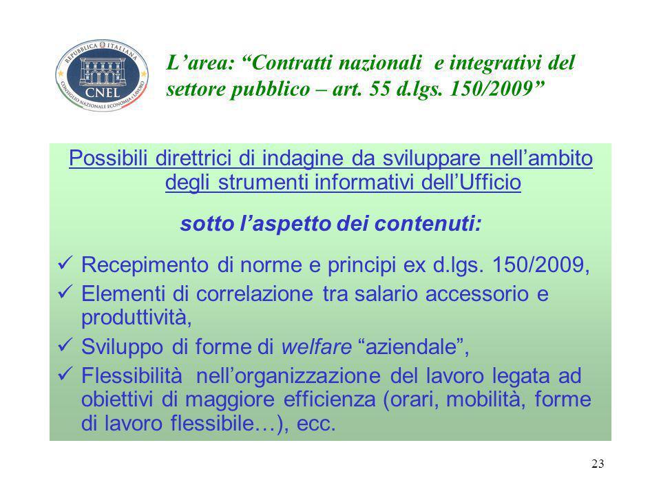 23 L'area: Contratti nazionali e integrativi del settore pubblico – art.