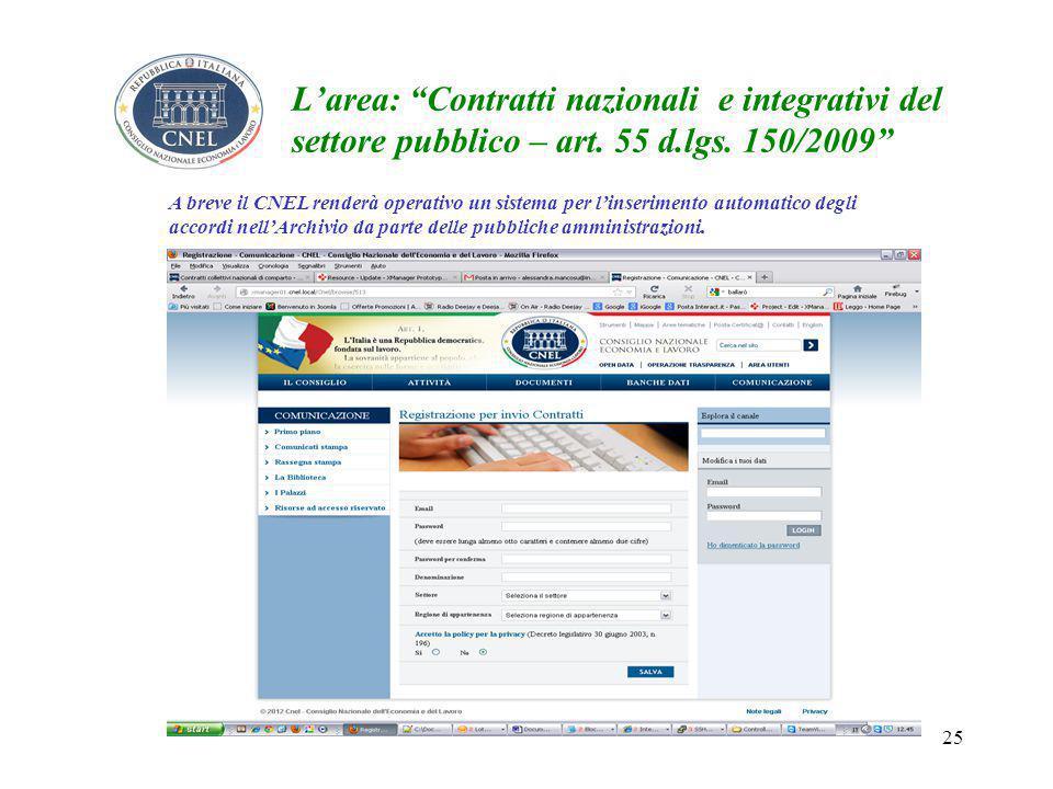 25 L'area: Contratti nazionali e integrativi del settore pubblico – art.