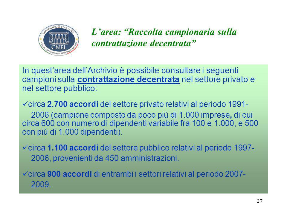 27 L'area: Raccolta campionaria sulla contrattazione decentrata In quest'area dell'Archivio è possibile consultare i seguenti campioni sulla contrattazione decentrata nel settore privato e nel settore pubblico: circa 2.700 accordi del settore privato relativi al periodo 1991- 2006 (campione composto da poco più di 1.000 imprese, di cui circa 600 con numero di dipendenti variabile fra 100 e 1.000, e 500 con più di 1.000 dipendenti).