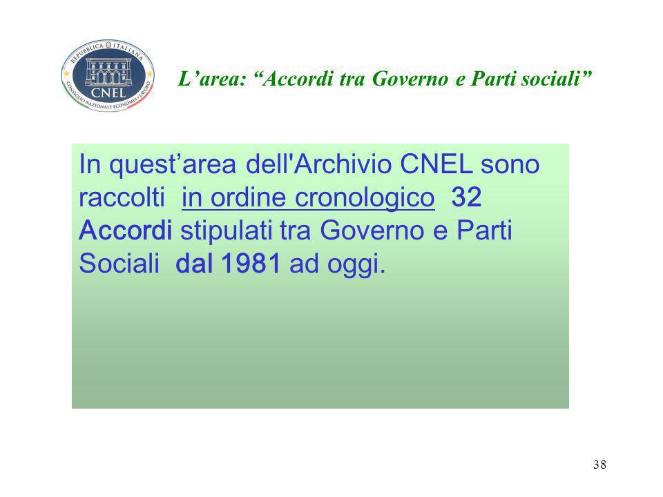 38 L'area: Accordi tra Governo e Parti sociali In quest'area dell Archivio CNEL sono raccolti in ordine cronologico 32 Accordi stipulati tra Governo e Parti Sociali dal 1981 ad oggi.