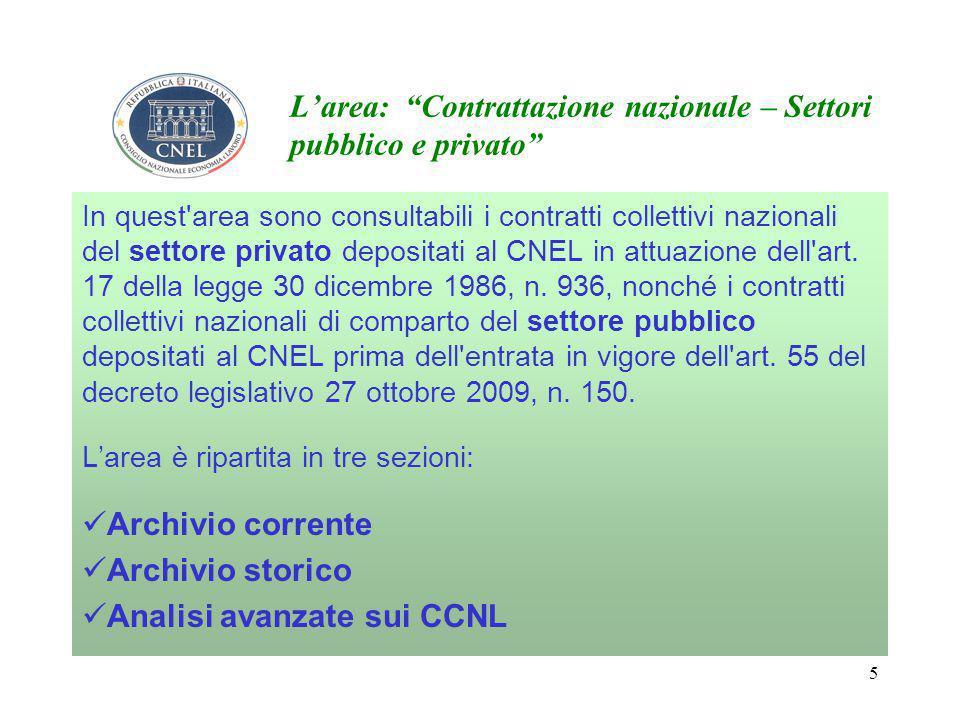 5 L'area: Contrattazione nazionale – Settori pubblico e privato In quest area sono consultabili i contratti collettivi nazionali del settore privato depositati al CNEL in attuazione dell art.