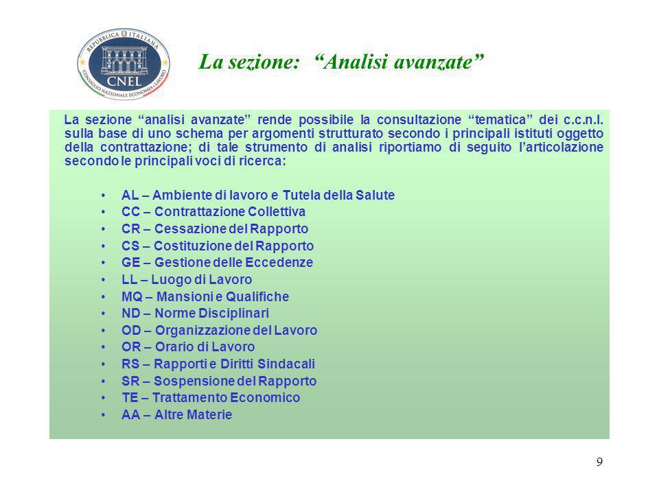 9 La sezione: Analisi avanzate La sezione analisi avanzate rende possibile la consultazione tematica dei c.c.n.l.