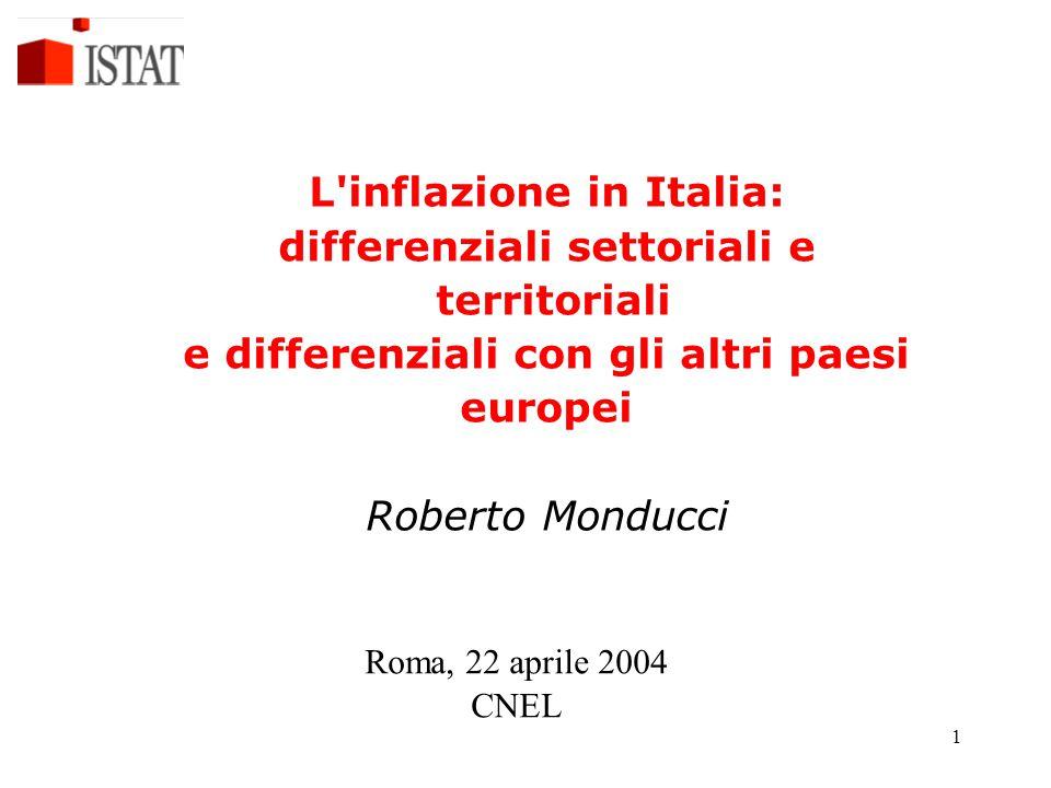 1 L inflazione in Italia: differenziali settoriali e territoriali e differenziali con gli altri paesi europei Roberto Monducci Roma, 22 aprile 2004 CNEL