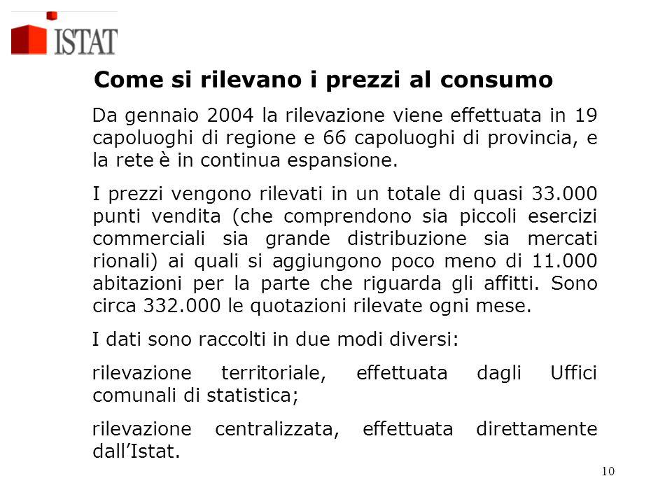 10 Come si rilevano i prezzi al consumo Da gennaio 2004 la rilevazione viene effettuata in 19 capoluoghi di regione e 66 capoluoghi di provincia, e la