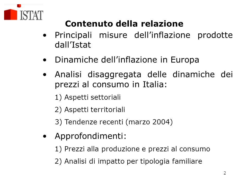 2 Contenuto della relazione Principali misure dell'inflazione prodotte dall'Istat Dinamiche dell'inflazione in Europa Analisi disaggregata delle dinam
