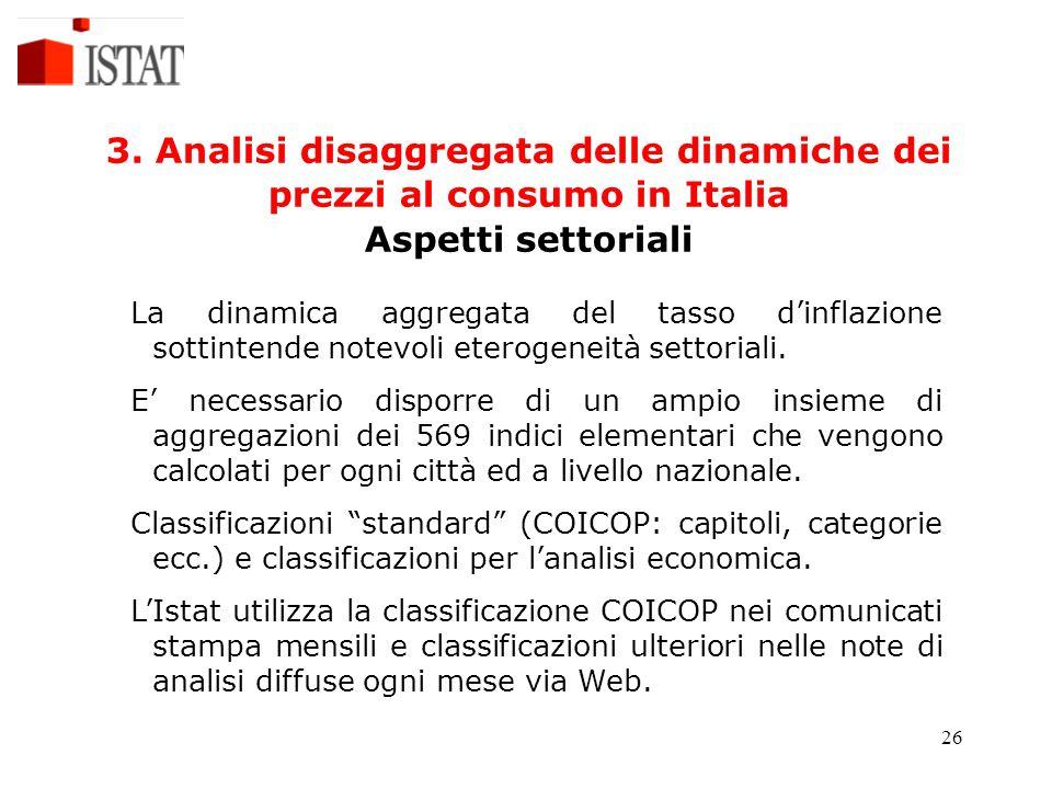 26 3. Analisi disaggregata delle dinamiche dei prezzi al consumo in Italia Aspetti settoriali La dinamica aggregata del tasso d'inflazione sottintende