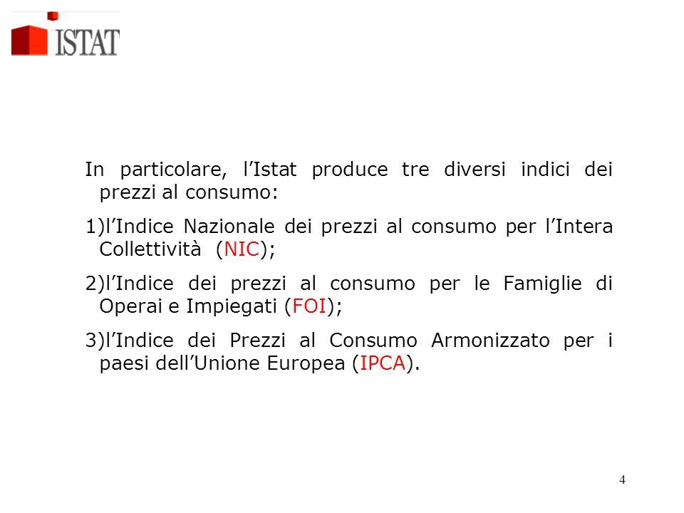 4 In particolare, l'Istat produce tre diversi indici dei prezzi al consumo: 1)l'Indice Nazionale dei prezzi al consumo per l'Intera Collettività (NIC)