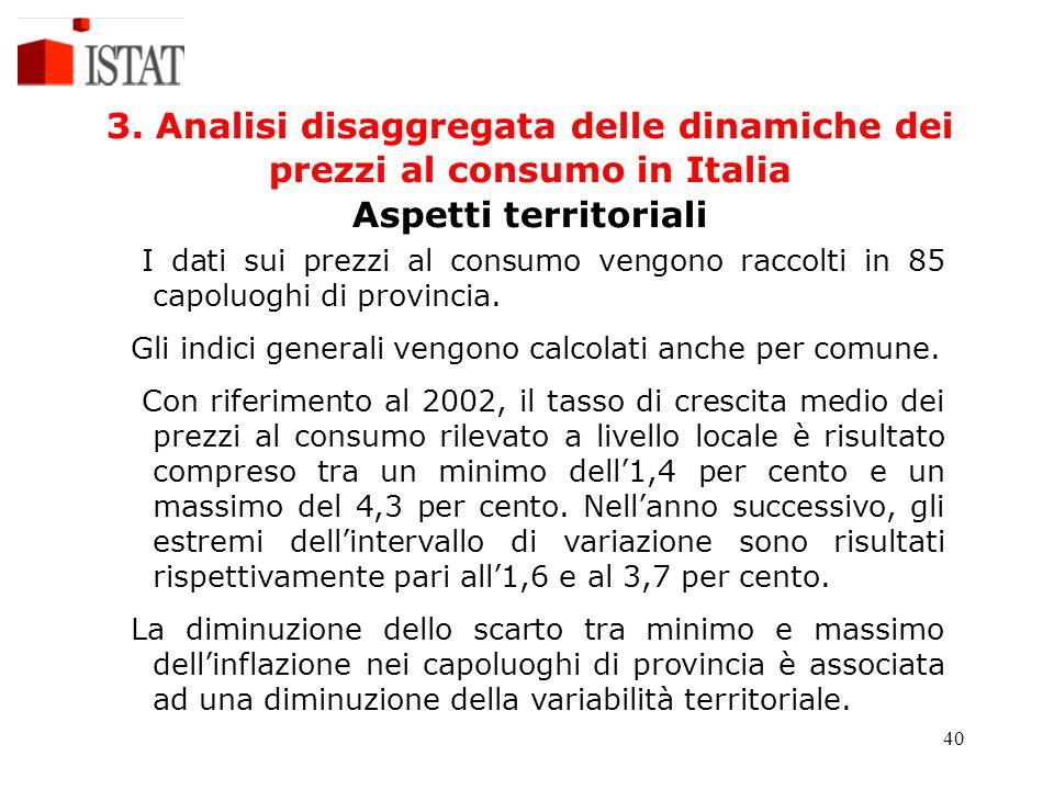 40 3. Analisi disaggregata delle dinamiche dei prezzi al consumo in Italia Aspetti territoriali I dati sui prezzi al consumo vengono raccolti in 85 ca