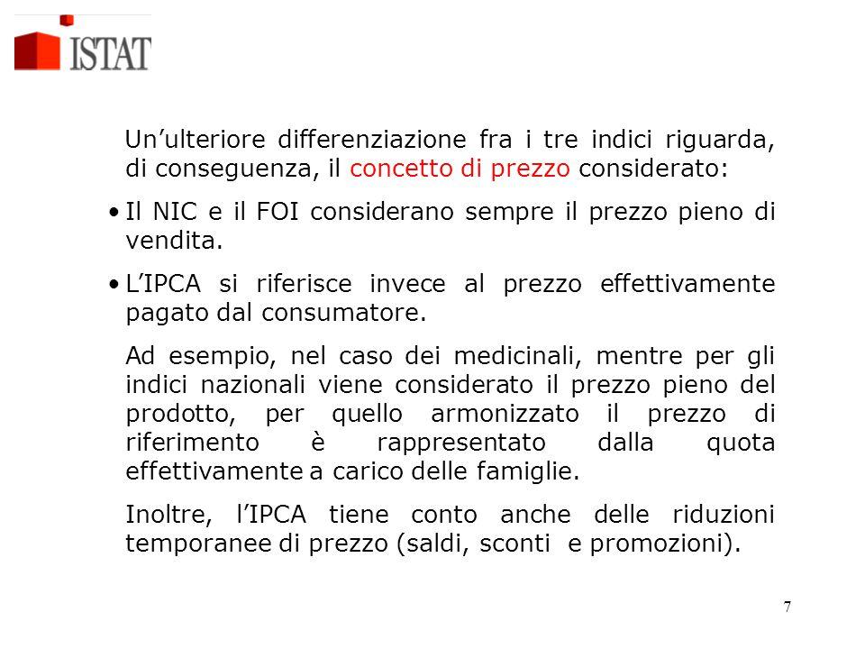 7 Un'ulteriore differenziazione fra i tre indici riguarda, di conseguenza, il concetto di prezzo considerato: Il NIC e il FOI considerano sempre il pr