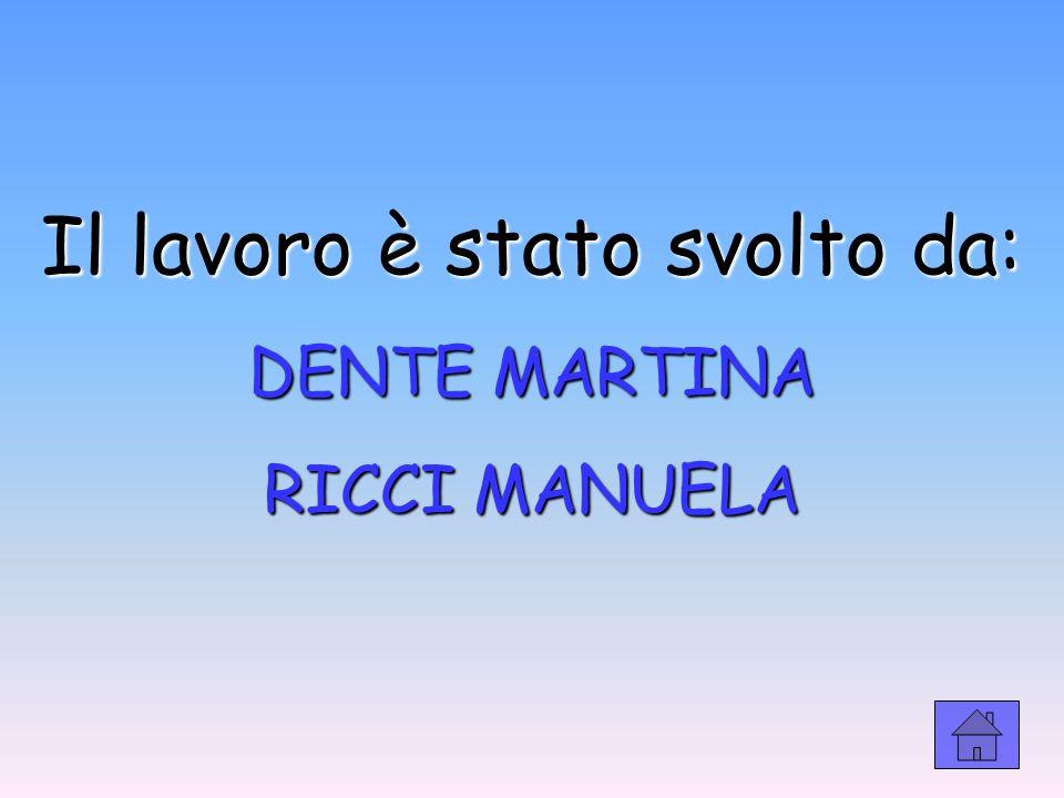 Il lavoro è stato svolto da: DENTE MARTINA RICCI MANUELA