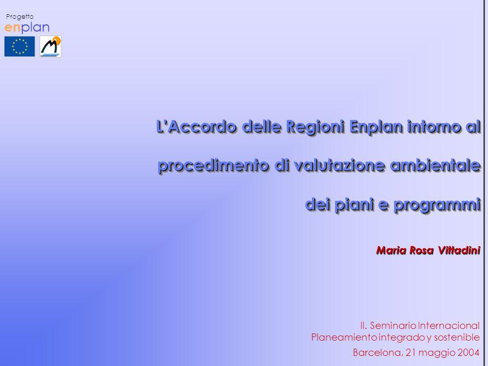 en plan Progetto L'Accordo delle Regioni Enplan intorno al procedimento di valutazione ambientale dei piani e programmi Maria Rosa Vittadini Barcelona, 21 maggio 2004 II.