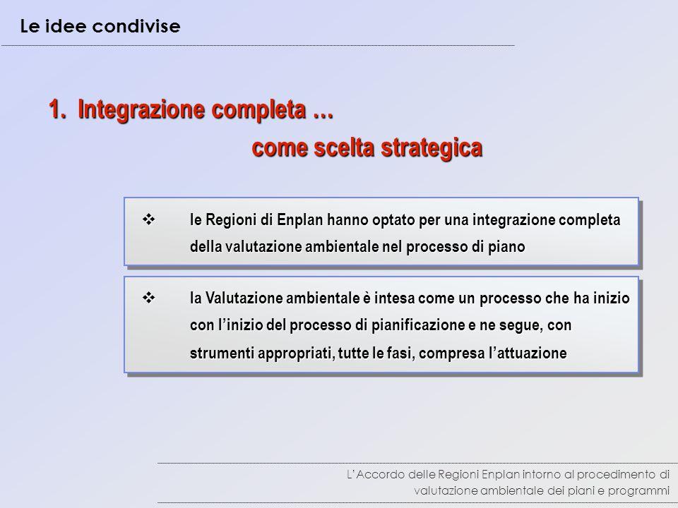 1. Integrazione completa … come scelta strategica come scelta strategica  la Valutazione ambientale è intesa come un processo che ha inizio con l'ini