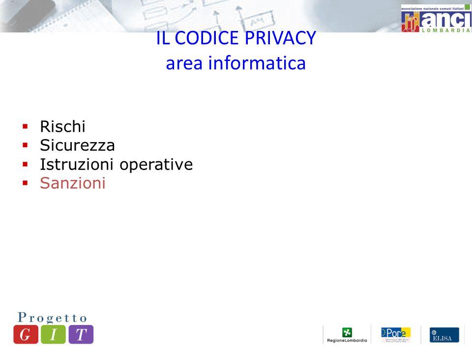 IL CODICE PRIVACY area informatica  Rischi  Sicurezza  Istruzioni operative  Sanzioni