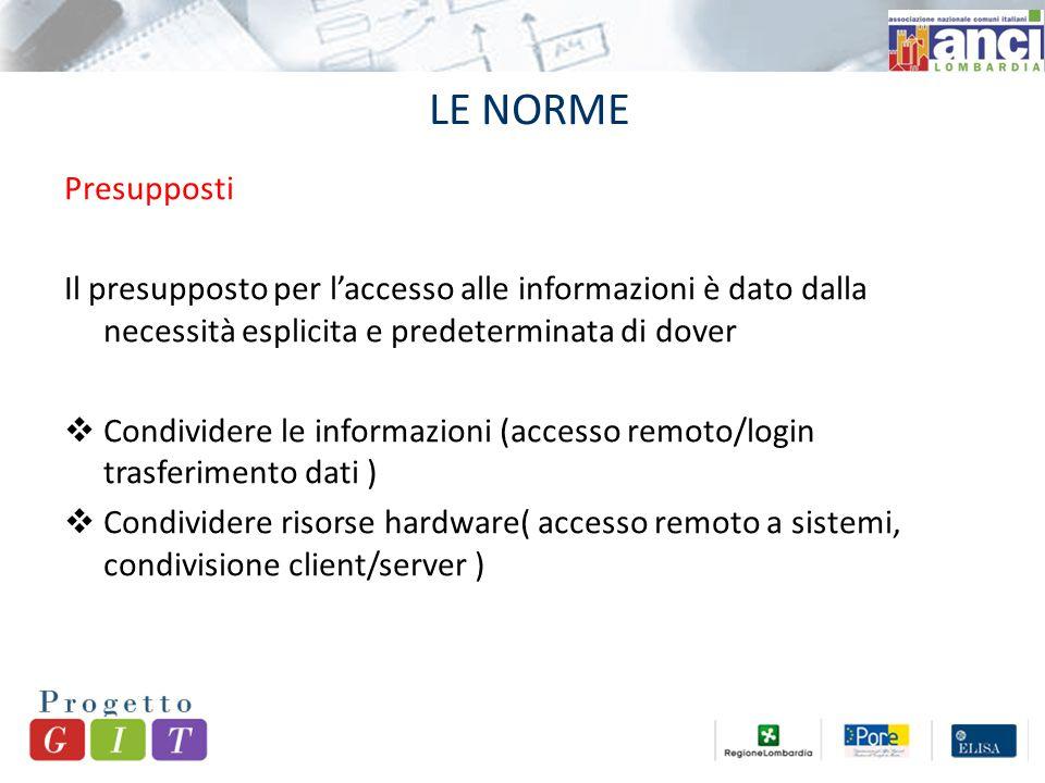 LE NORME Presupposti Il presupposto per l'accesso alle informazioni è dato dalla necessità esplicita e predeterminata di dover  Condividere le informazioni (accesso remoto/login trasferimento dati )  Condividere risorse hardware( accesso remoto a sistemi, condivisione client/server )