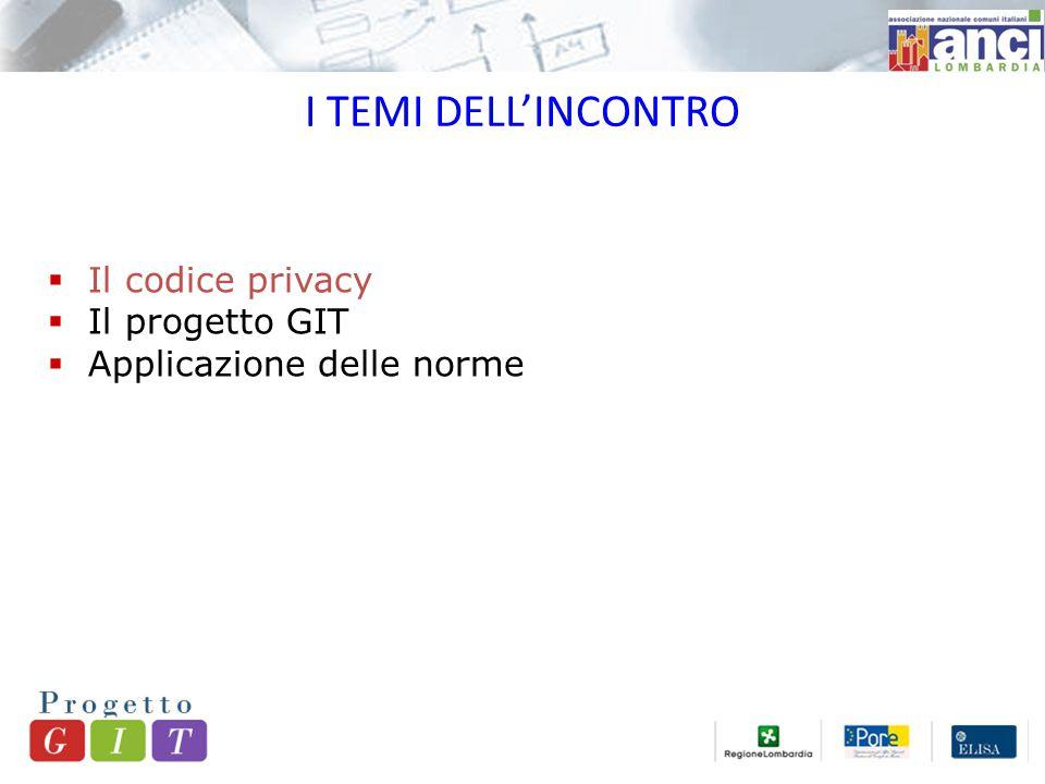 I TEMI DELL'INCONTRO  Il codice privacy  Il progetto GIT  Applicazione delle norme