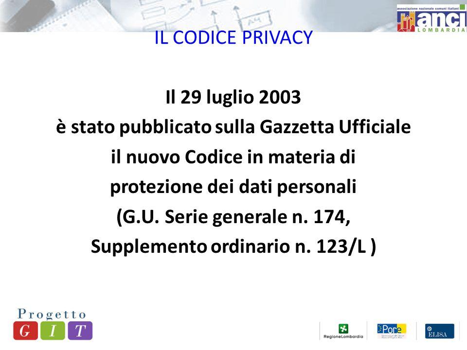 IL CODICE PRIVACY Il 29 luglio 2003 è stato pubblicato sulla Gazzetta Ufficiale il nuovo Codice in materia di protezione dei dati personali (G.U.