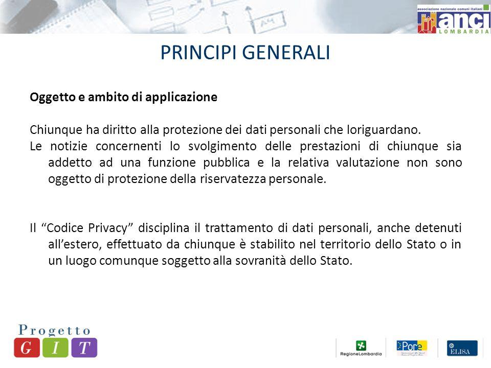 PRINCIPI GENERALI Oggetto e ambito di applicazione Chiunque ha diritto alla protezione dei dati personali che loriguardano.