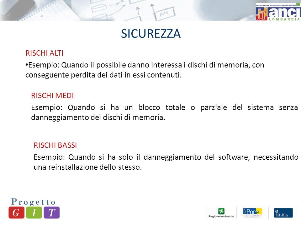 SICUREZZA RISCHI ALTI Esempio: Quando il possibile danno interessa i dischi di memoria, con conseguente perdita dei dati in essi contenuti.