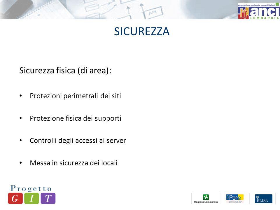SICUREZZA Sicurezza fisica (di area): Protezioni perimetrali dei siti Protezione fisica dei supporti Controlli degli accessi ai server Messa in sicurezza dei locali