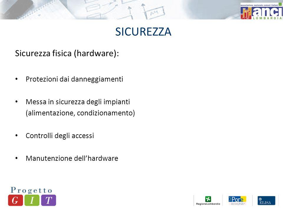SICUREZZA Sicurezza fisica (hardware): Protezioni dai danneggiamenti Messa in sicurezza degli impianti (alimentazione, condizionamento) Controlli degli accessi Manutenzione dell'hardware