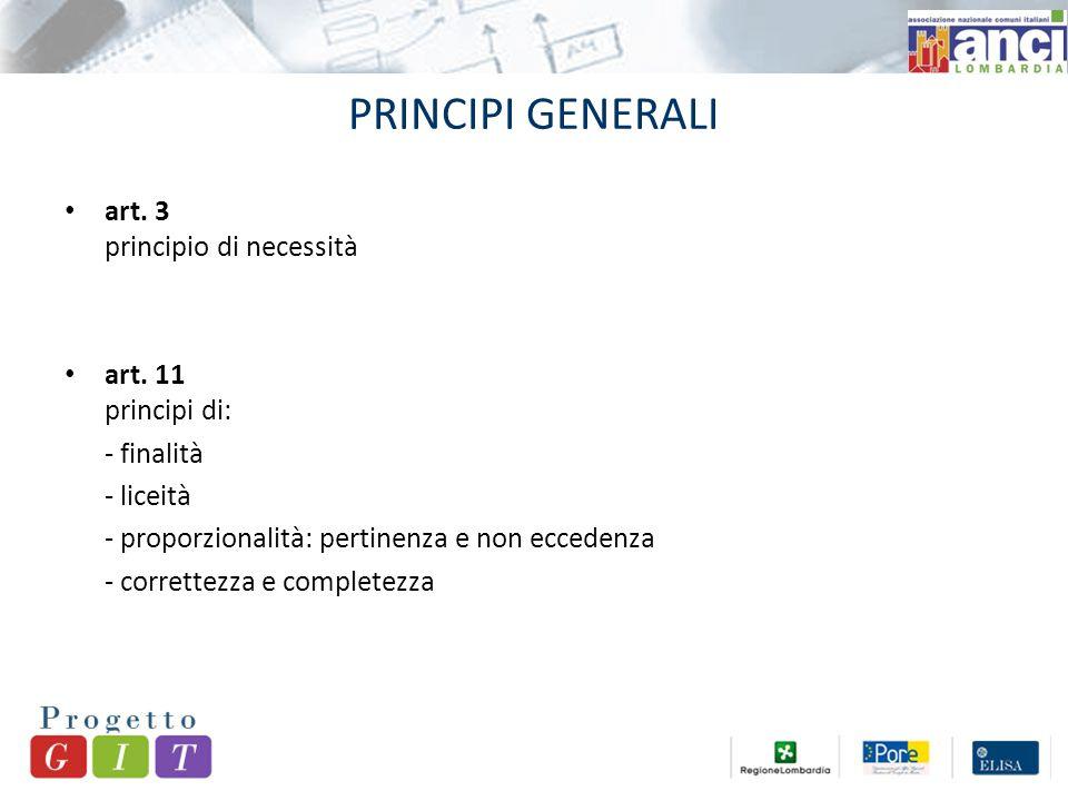 PRINCIPI GENERALI art. 3 principio di necessità art.
