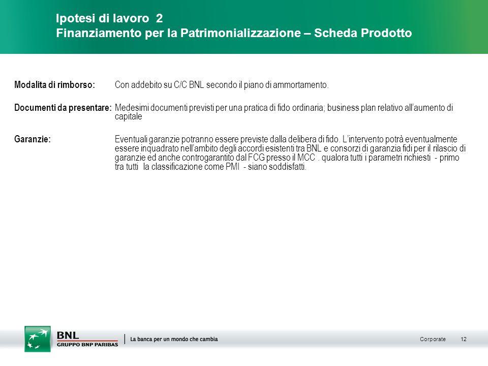 Corporate 12 Modalita di rimborso: Con addebito su C/C BNL secondo il piano di ammortamento.