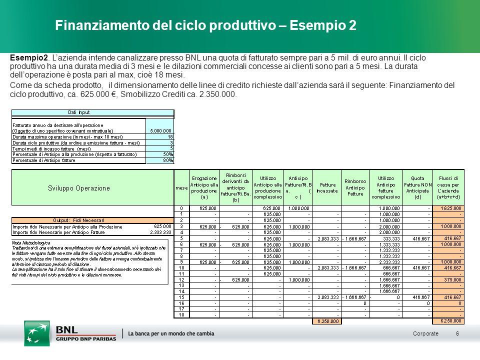 Corporate 6 Finanziamento del ciclo produttivo – Esempio 2 Esempio2.
