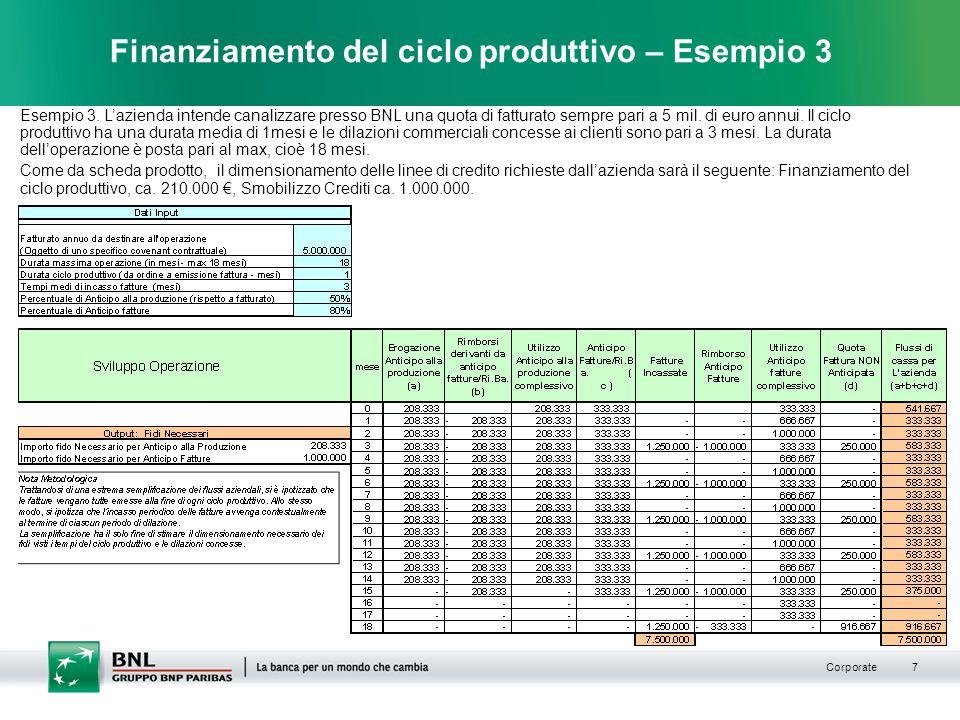 Corporate 7 Finanziamento del ciclo produttivo – Esempio 3 Esempio 3.