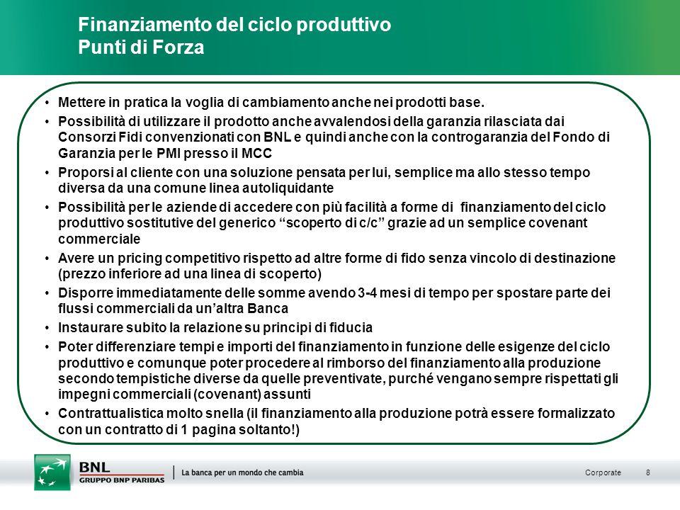 Corporate 8 Mettere in pratica la voglia di cambiamento anche nei prodotti base.