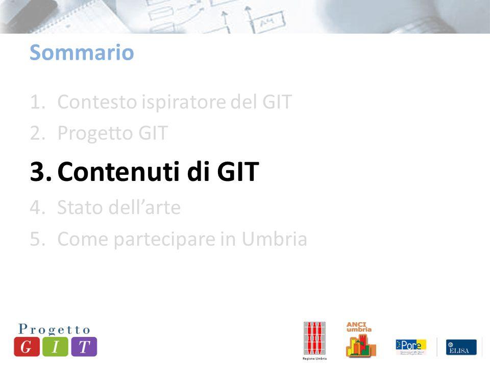 1.Contesto ispiratore del GIT 2.Progetto GIT 3.Contenuti di GIT 4.Stato dell'arte 5.Come partecipare in Umbria Sommario