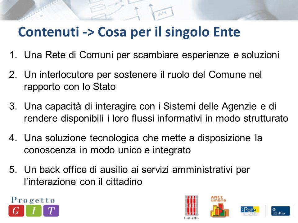 Contenuti -> Cosa per il singolo Ente 5.Un back office di ausilio ai servizi amministrativi per l'interazione con il cittadino 1.Una Rete di Comuni pe