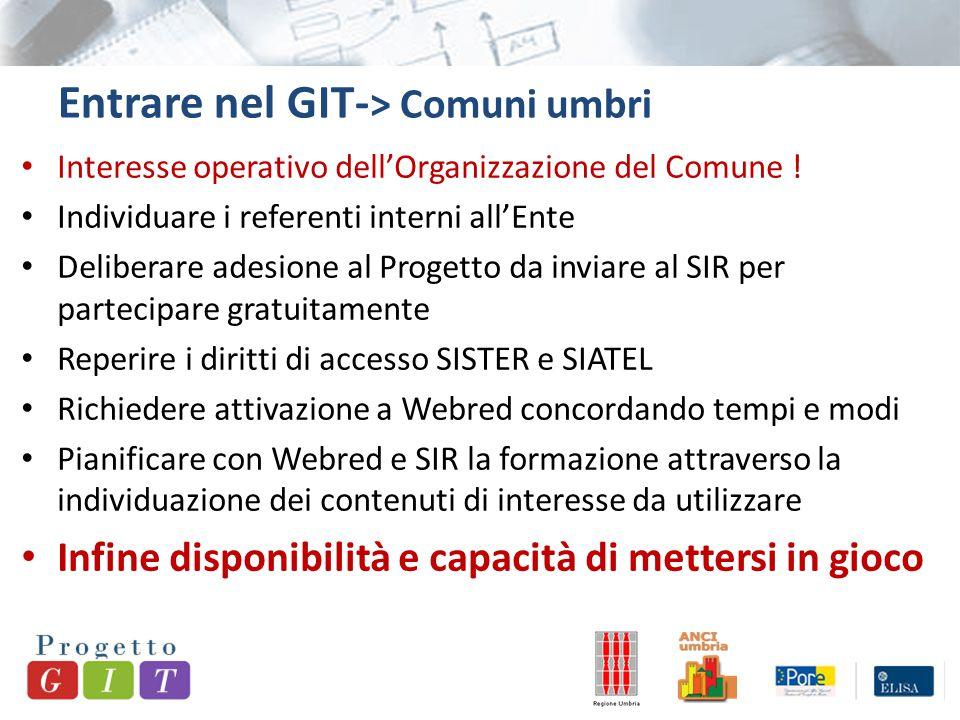 Entrare nel GIT- > Comuni umbri Interesse operativo dell'Organizzazione del Comune ! Individuare i referenti interni all'Ente Deliberare adesione al P