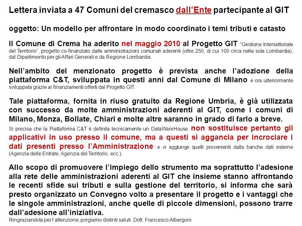 Lettera inviata a 47 Comuni del cremasco dall'Ente partecipante al GIT oggetto: Un modello per affrontare in modo coordinato i temi tributi e catasto