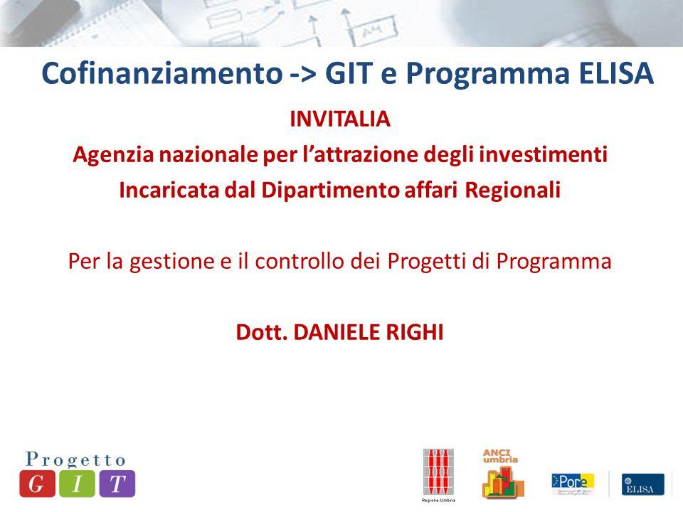 Cofinanziamento -> GIT e Programma ELISA INVITALIA Agenzia nazionale per l'attrazione degli investimenti Incaricata dal Dipartimento affari Regionali Per la gestione e il controllo dei Progetti di Programma Dott.