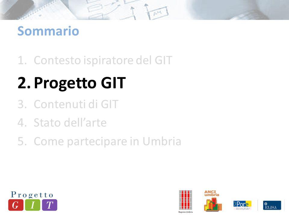 Sommario 1.Contesto ispiratore del GIT 2.Progetto GIT 3.Contenuti di GIT 4.Stato dell'arte 5.Come partecipare in Umbria