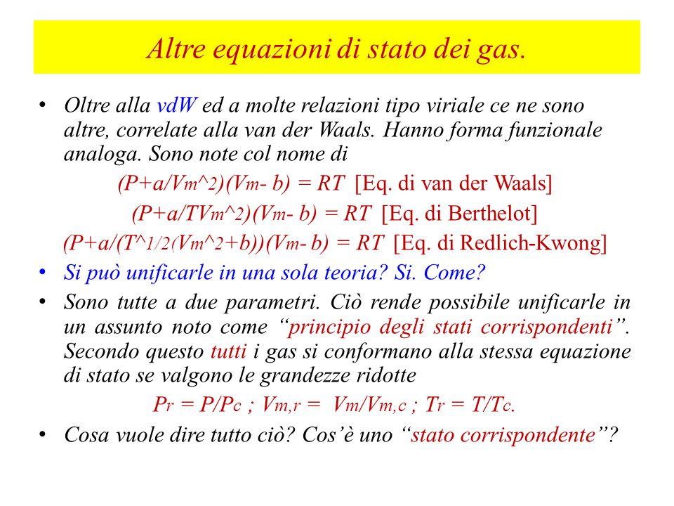 Al punto critico, le relazioni, ottenute per derivazione della funzione di van der Waals, assumono la forma b = (V m,c /3) (co-volume) a = 3P c V m,c ^2 (Vediamo cosa vuol dire) R = 8P c V m,c /3T c = (Rapporto critico) Z c = 3/8 (RT c /P c V m,c ) = (27/64) (RT c )^2/P c V m = Volume molare