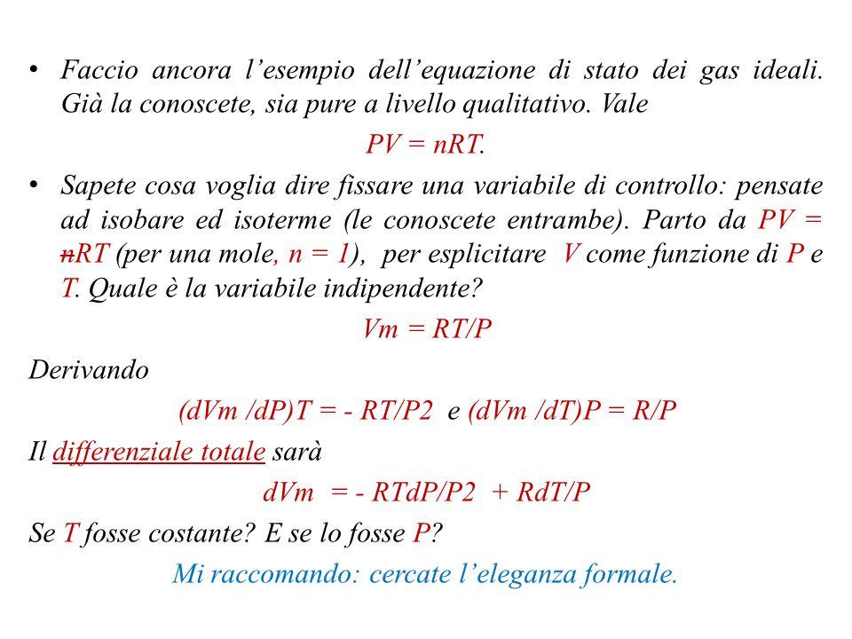 Alcuni esempi Il volume di un gas puro è funzione, nei casi che considero, di P e T.