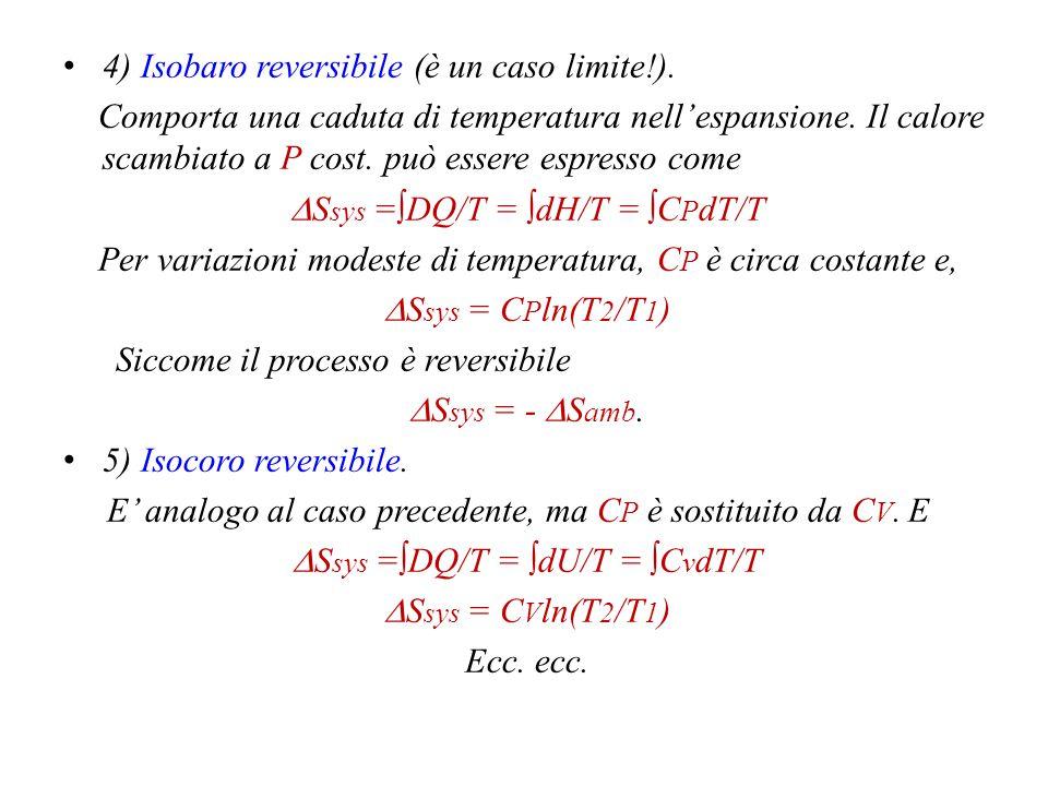 1) Isotermo reversibile  S = ∫dS = ∫DQ rev /T = 1/T∫dQ = Q/T Siccome  U = 0; Q = -W = nRTln(V 2 /V 1 );  S sys = nRln(V 2 /V 1 ); E nell'ambiente viene ceduta una quantità  S amb = - Q/T.