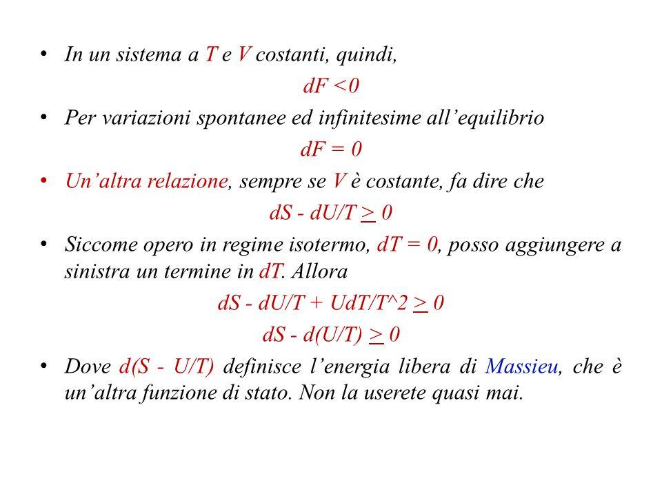 Che trasformo in dU + PdV - TdS < 0 Sono in condizioni isocore, quindi il termine dV si omette.