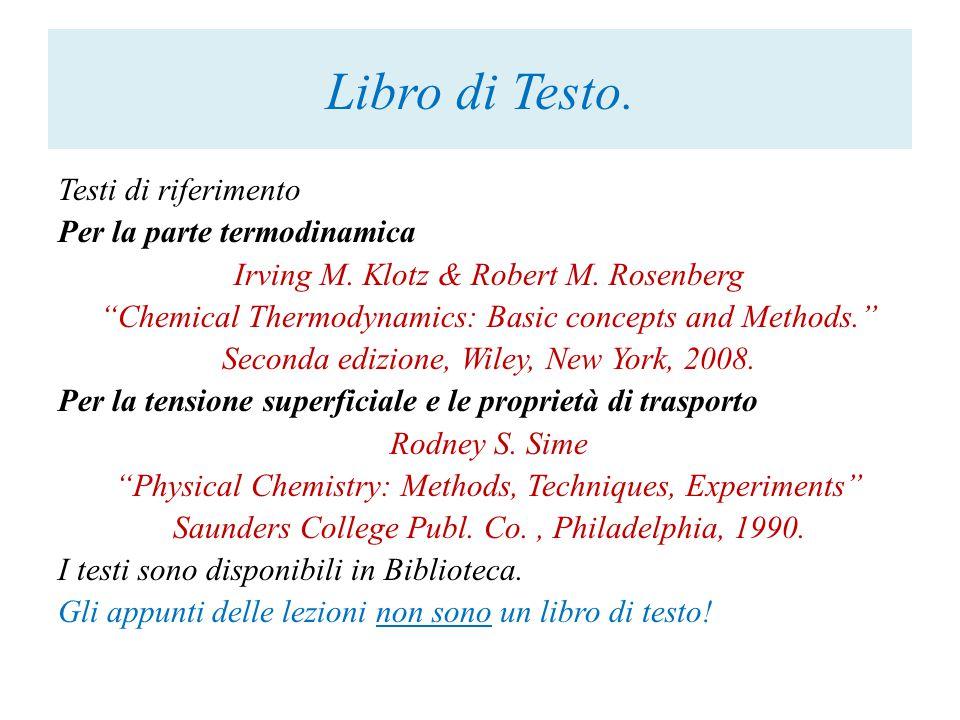 Corso di Chimica Fisica I con Laboratorio Docente: Prof.