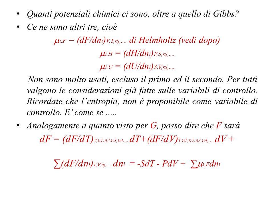 Formalizzo il tutto.G = G(P,T,n 1,n 2,n 3,n 4,....) dG = (dG/dP) T,n1,n2,n3,n4,....