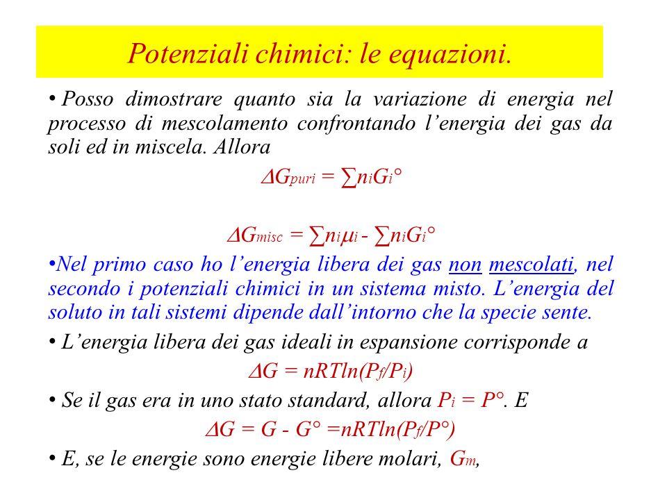 Per mescolamenti reversibili, la variazione di entropia dell'ambiente è uguale ed opposta in segno e  S tot = 0.