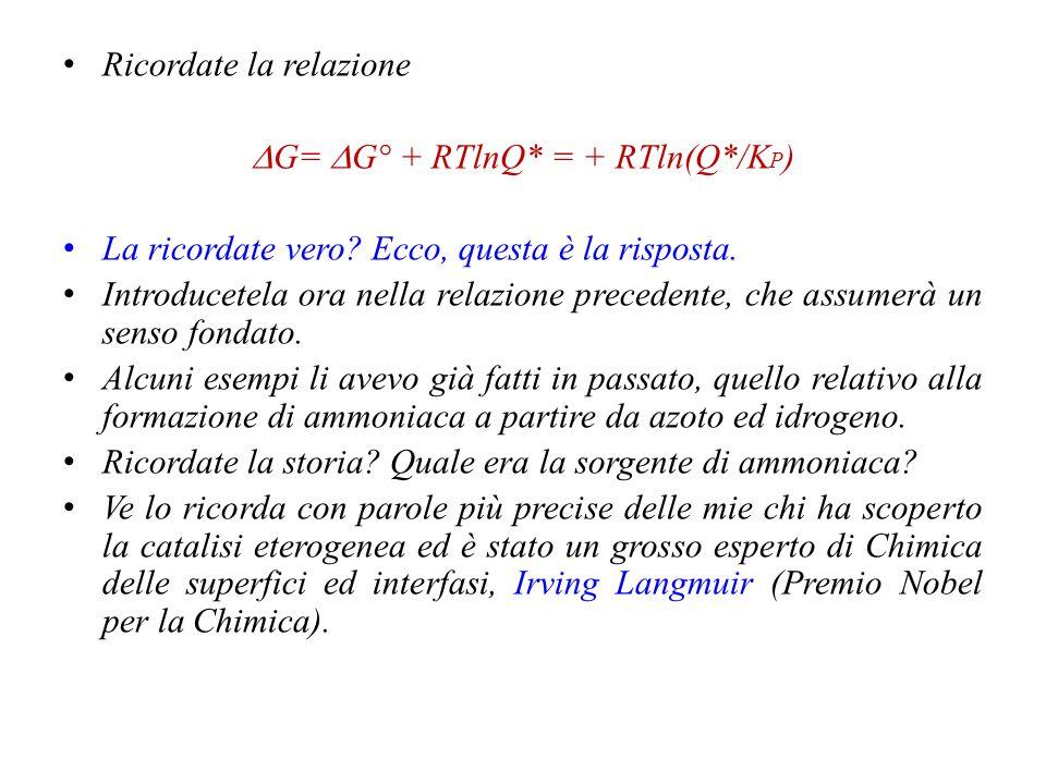 Fate molta attenzione ai seguenti aspetti: 1.Notate che  è compreso tra 0 ed 1; 2.La reazione può non essere completa; 3.Non può non avvenire; 4.Che significato attribuire al termine ln(P/P°).