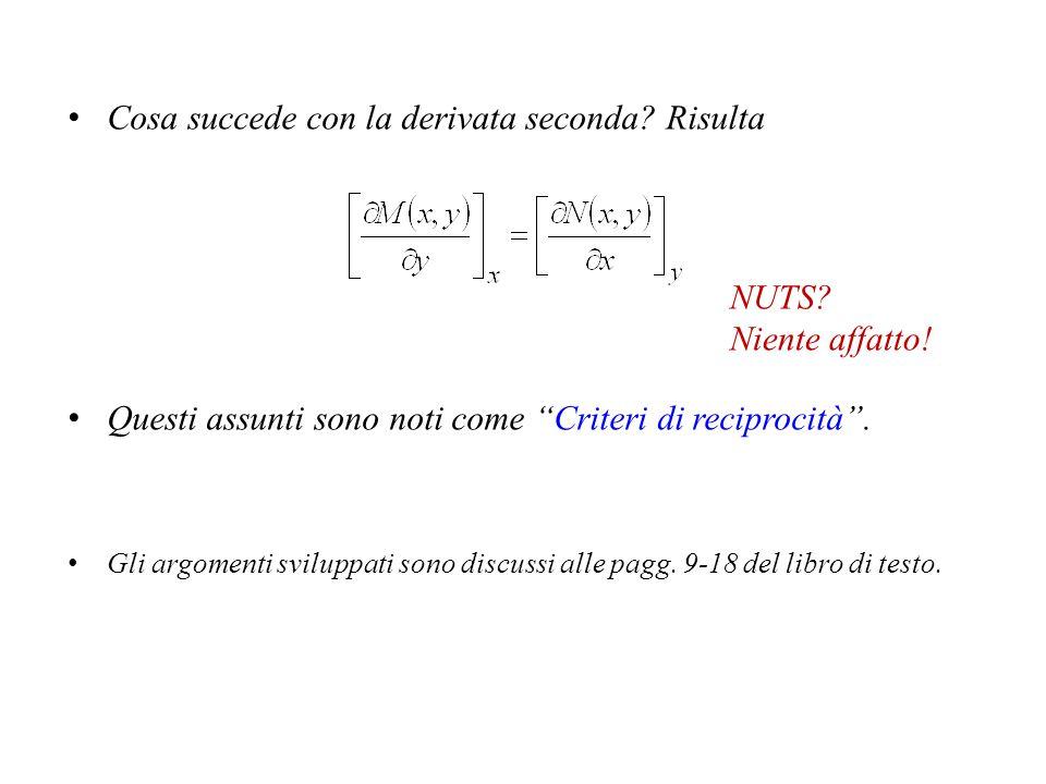 Altre proprietà interessanti Per vedere se dL(x,y,dx,dy) sia un differenziale esatto o no, si può vedere se le derivate parziali che lo definiscono, M(x,y) ed N(x,y), abbiano certe proprietà.