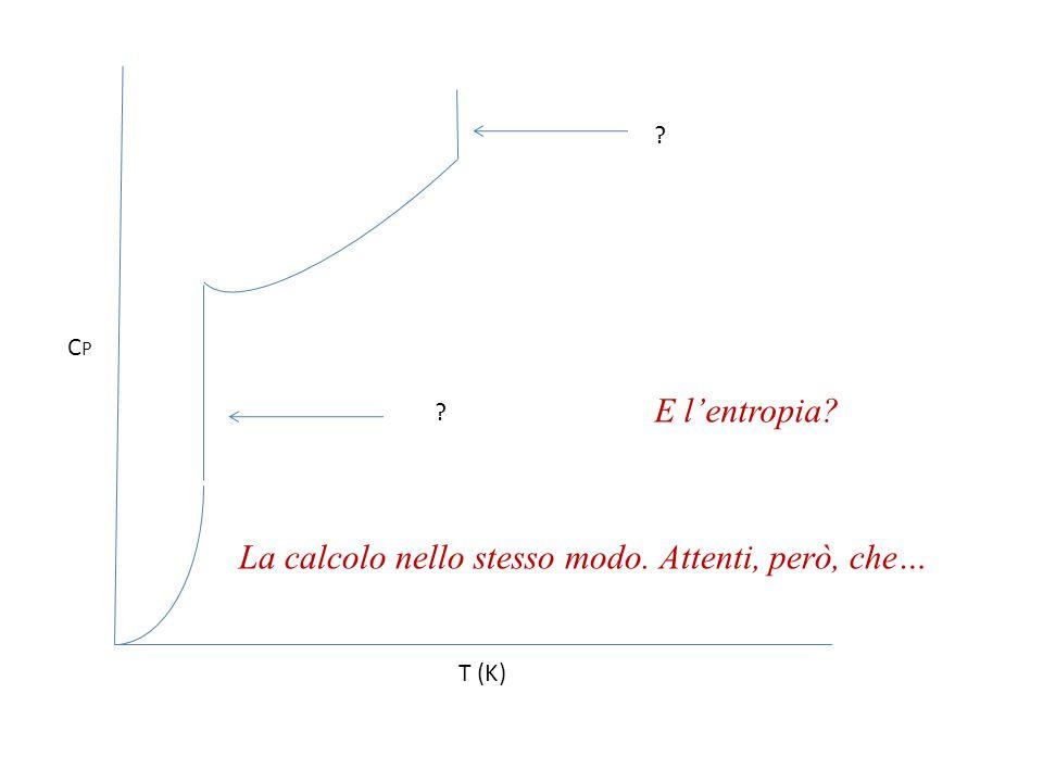 Calcolo l'entropia di vaporizzazione, che sarà  Svap =  Hvap/T Per l'entropia assoluta, considero il valore alla temperatura standard (ed a 0.1 MPa), tramite la S°(T)-S'(T) = R ln(P/P°) Sommo tutti i contributi considerati.