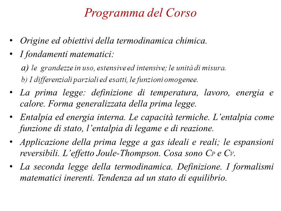 Programma del Corso Origine ed obiettivi della termodinamica chimica.