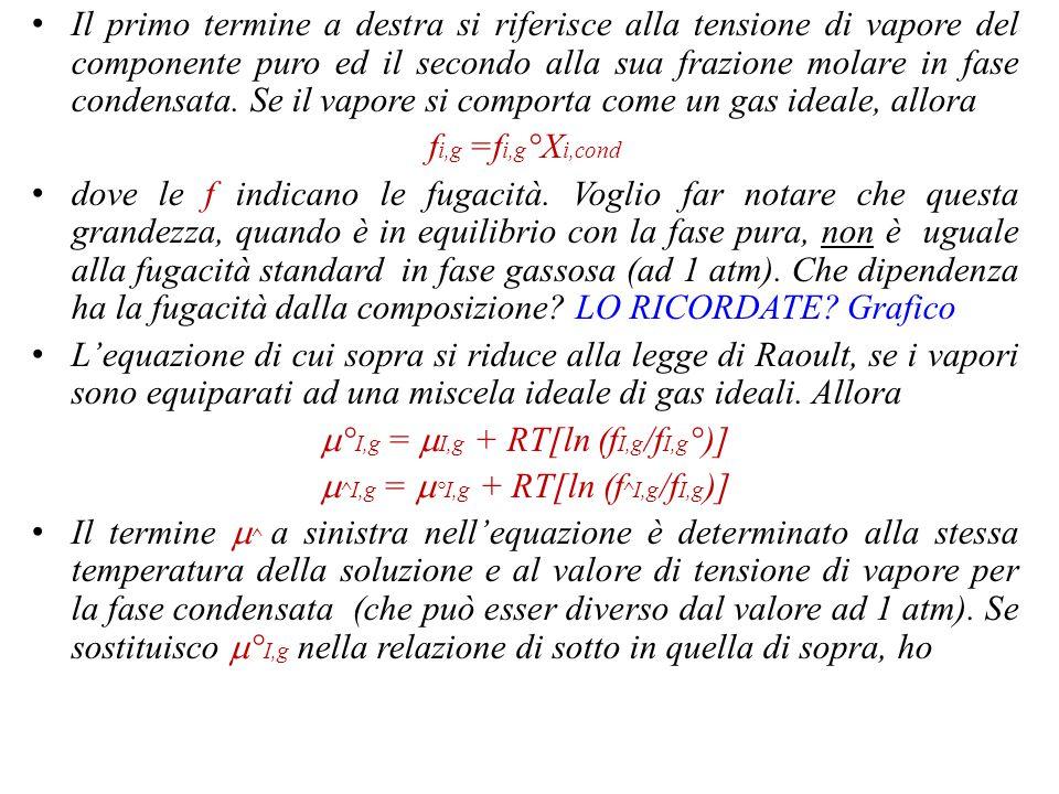 Ancora… Nello sviluppo della trattazione sulla regola della fasi, ho fatto riferimento ai potenziali chimici come al parametro che regola la stabilità di un sistema in una fase.